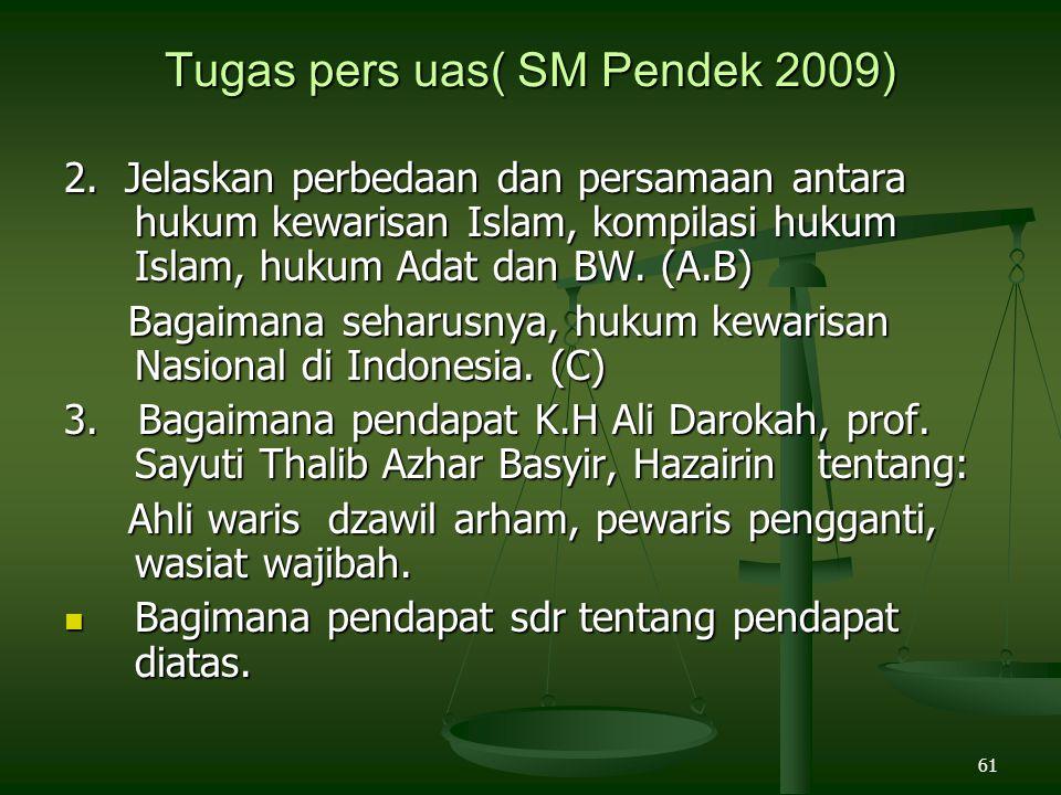 61 Tugas pers uas( SM Pendek 2009) 2. Jelaskan perbedaan dan persamaan antara hukum kewarisan Islam, kompilasi hukum Islam, hukum Adat dan BW. (A.B) B