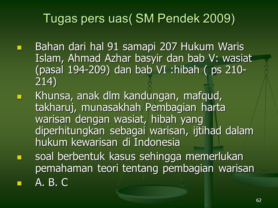 62 Tugas pers uas( SM Pendek 2009) Bahan dari hal 91 samapi 207 Hukum Waris Islam, Ahmad Azhar basyir dan bab V: wasiat (pasal 194-209) dan bab VI :hi