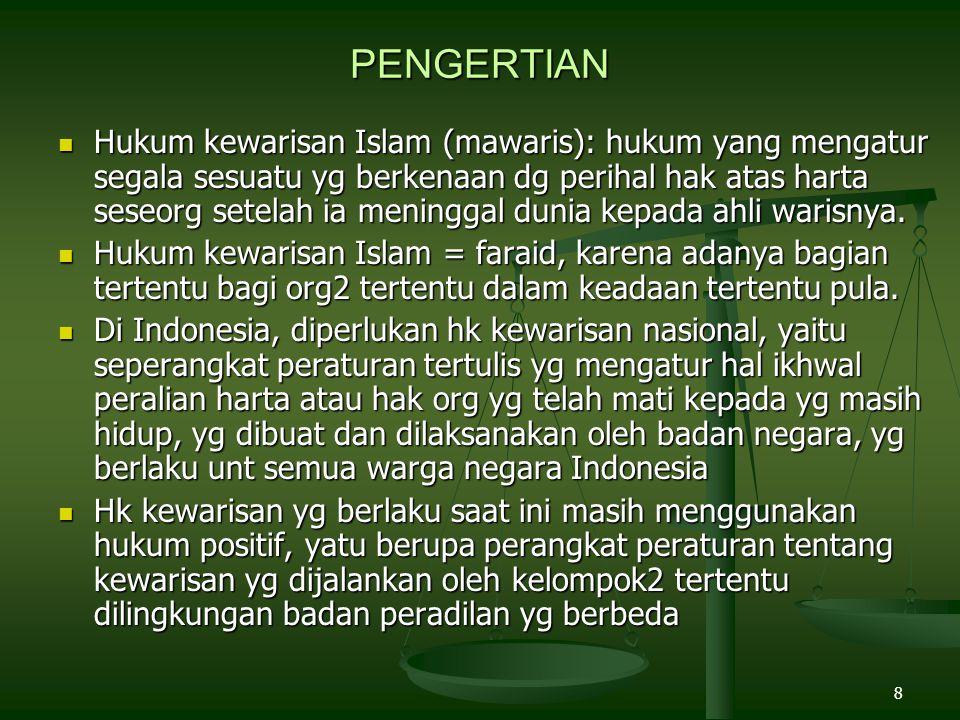 8 PENGERTIAN Hukum kewarisan Islam (mawaris): hukum yang mengatur segala sesuatu yg berkenaan dg perihal hak atas harta seseorg setelah ia meninggal d