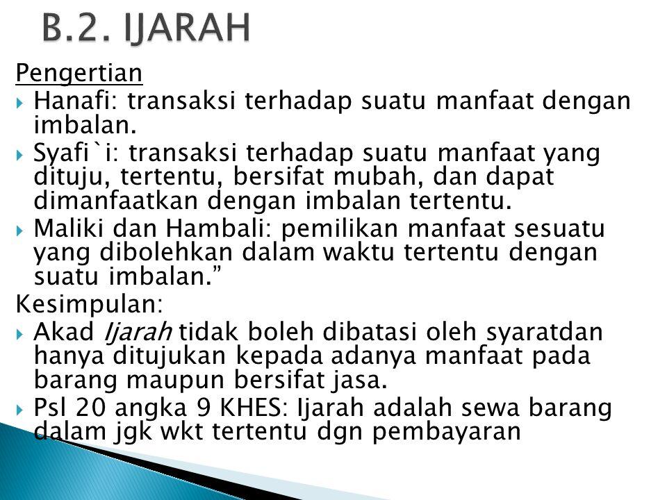 Pengertian  Hanafi: transaksi terhadap suatu manfaat dengan imbalan.  Syafi`i: transaksi terhadap suatu manfaat yang dituju, tertentu, bersifat muba