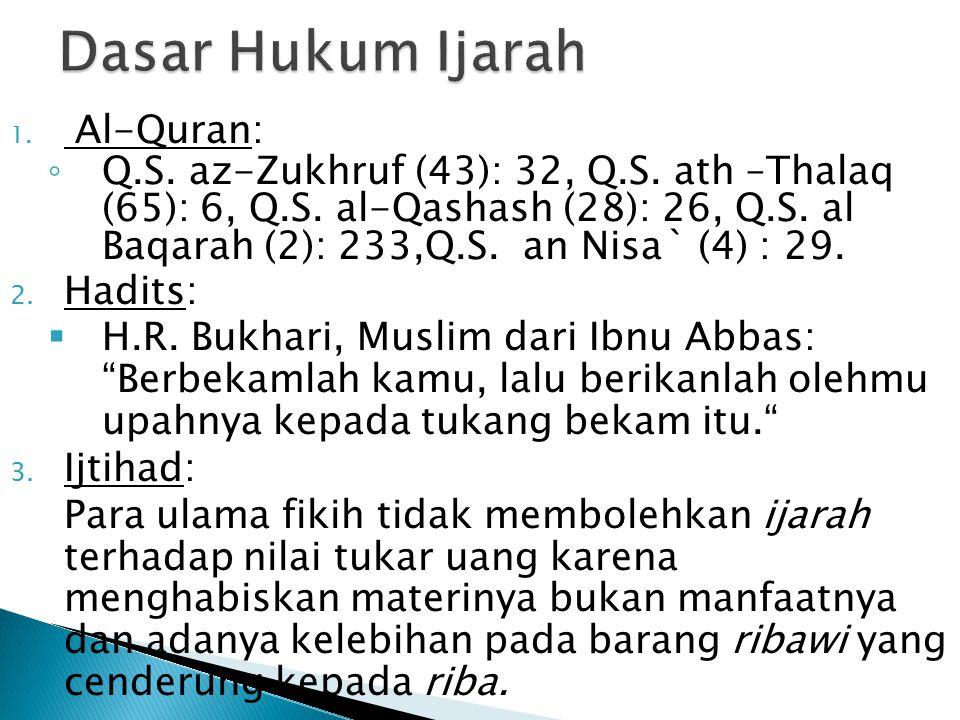 1. Al-Quran: ◦ Q.S. az-Zukhruf (43): 32, Q.S. ath –Thalaq (65): 6, Q.S. al-Qashash (28): 26, Q.S. al Baqarah (2): 233,Q.S. an Nisa` (4) : 29. 2. Hadit