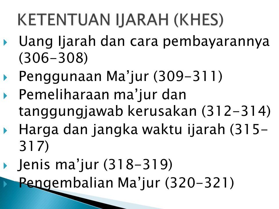  Uang Ijarah dan cara pembayarannya (306-308)  Penggunaan Ma'jur (309-311)  Pemeliharaan ma'jur dan tanggungjawab kerusakan (312-314)  Harga dan j