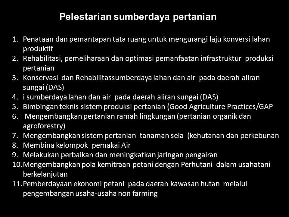 Pelestarian sumberdaya pertanian 1.Penataan dan pemantapan tata ruang untuk mengurangi laju konversi lahan produktif 2.Rehabilitasi, pemeliharaan dan