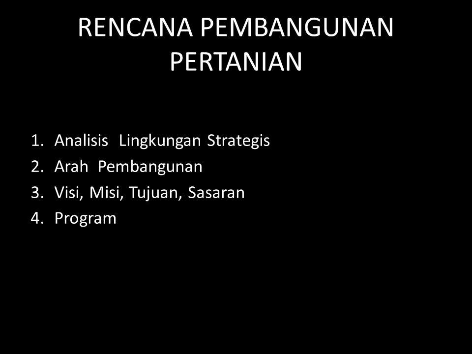 RENCANA PEMBANGUNAN PERTANIAN 1.Analisis Lingkungan Strategis 2.Arah Pembangunan 3.Visi, Misi, Tujuan, Sasaran 4.Program