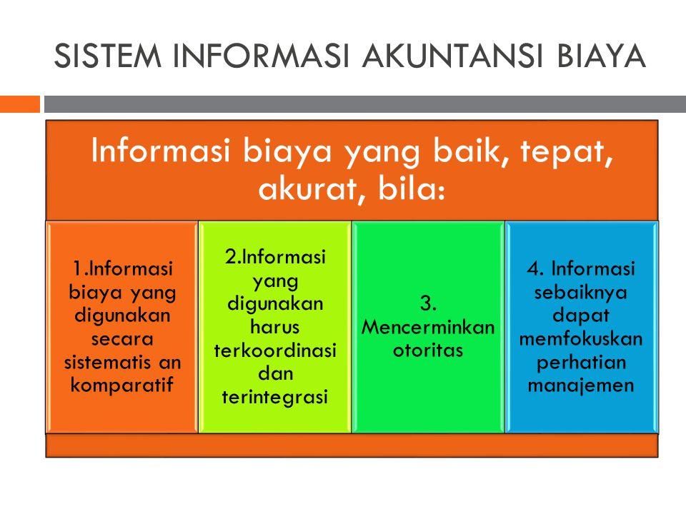 SISTEM INFORMASI AKUNTANSI BIAYA Informasi biaya yang baik, tepat, akurat, bila: 1.Informasi biaya yang digunakan secara sistematis an komparatif 2.In