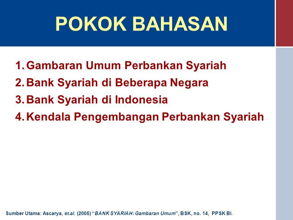 POKOK BAHASAN 1.Gambaran Umum Perbankan Syariah 2.Bank Syariah di Beberapa Negara 3.Bank Syariah di Indonesia 4.Kendala Pengembangan Perbankan Syariah Sumber Utama: Ascarya, et.al.