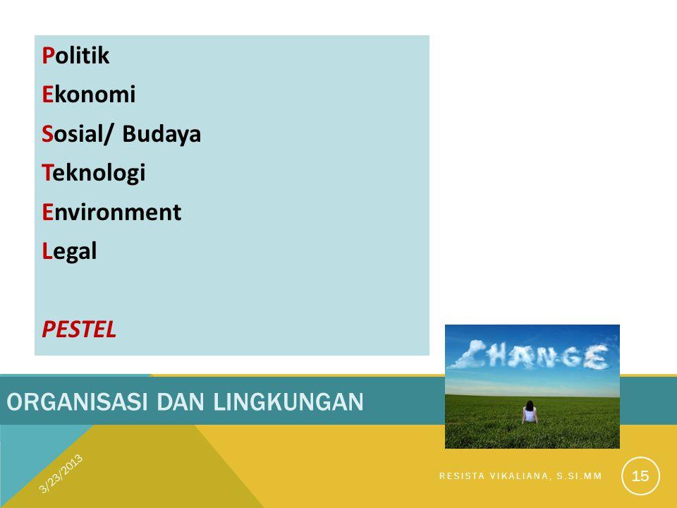 ORGANISASI DAN LINGKUNGAN Politik Ekonomi Sosial/ Budaya Teknologi Environment Legal PESTEL 3/23/2013 RESISTA VIKALIANA, S.SI.MM 15
