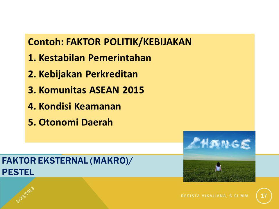FAKTOR EKSTERNAL (MAKRO)/ PESTEL Contoh: FAKTOR POLITIK/KEBIJAKAN 1. Kestabilan Pemerintahan 2. Kebijakan Perkreditan 3. Komunitas ASEAN 2015 4. Kondi