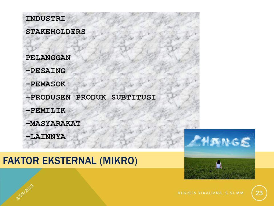 FAKTOR EKSTERNAL (MIKRO) INDUSTRI STAKEHOLDERS PELANGGAN –PESAING –PEMASOK –PRODUSEN PRODUK SUBTITUSI –PEMILIK –MASYARAKAT –LAINNYA 3/23/2013 RESISTA