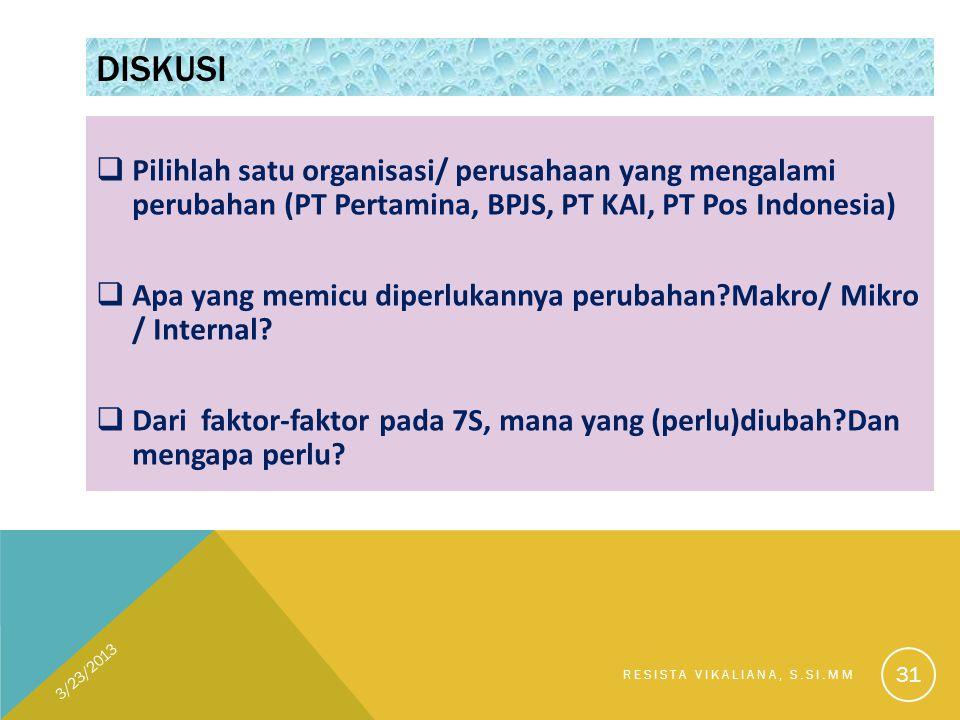 DISKUSI  Pilihlah satu organisasi/ perusahaan yang mengalami perubahan (PT Pertamina, BPJS, PT KAI, PT Pos Indonesia)  Apa yang memicu diperlukannya