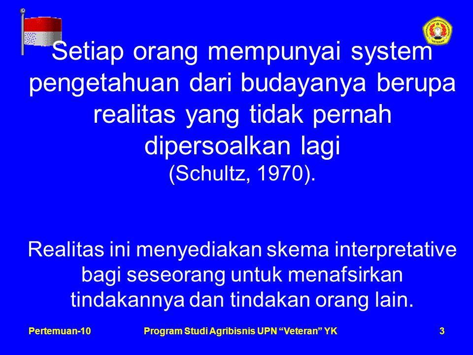 3Pertemuan-10Program Studi Agribisnis UPN Veteran YK Setiap orang mempunyai system pengetahuan dari budayanya berupa realitas yang tidak pernah dipersoalkan lagi (Schultz, 1970).