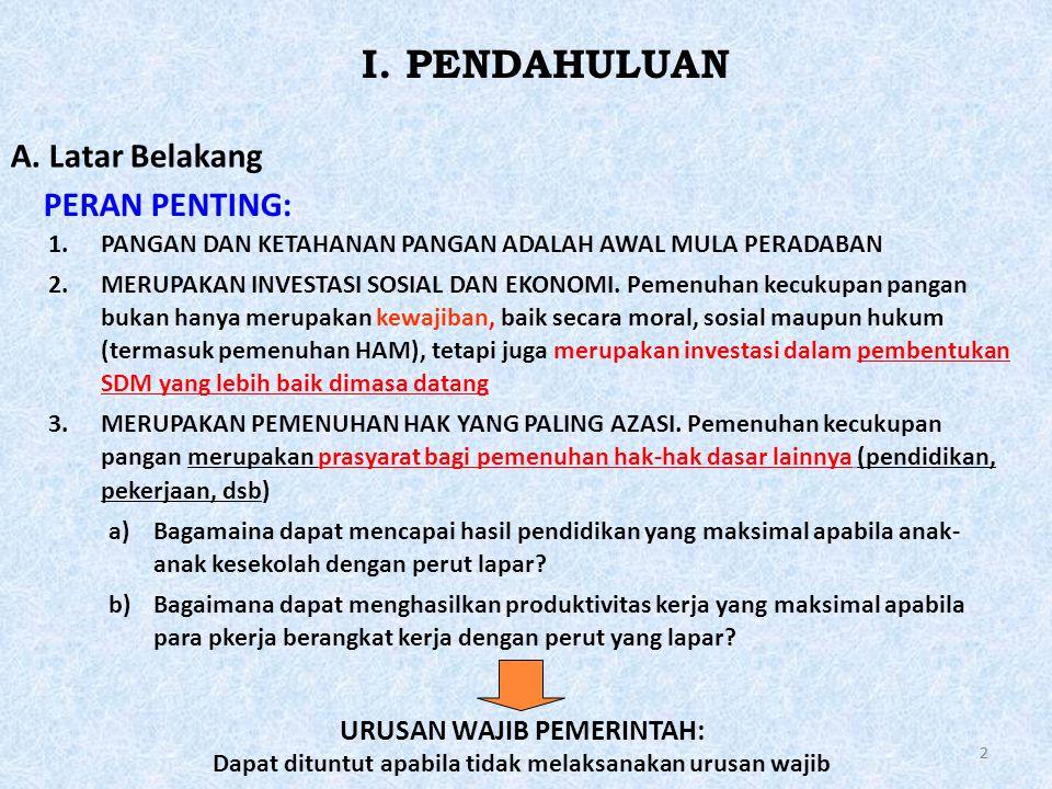 22 1.PANGAN DAN KETAHANAN PANGAN ADALAH AWAL MULA PERADABAN 2.MERUPAKAN INVESTASI SOSIAL DAN EKONOMI.