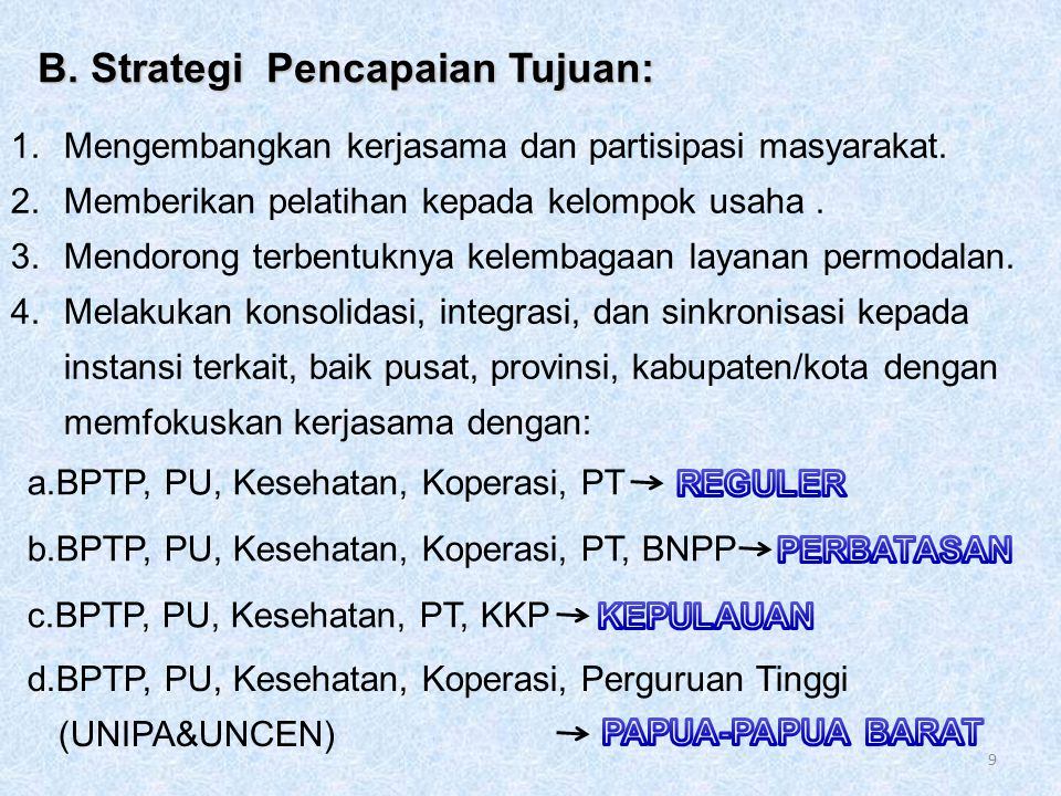 1.Mengembangkan kerjasama dan partisipasi masyarakat.