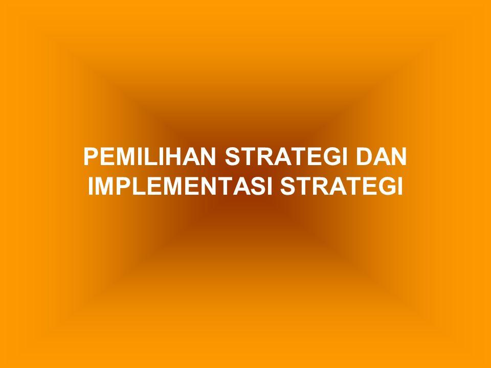 Perbedaan antara formulasi strategi dengan implementasi strategi Formulasi strategiImplementasi Strategi 1.Pemosisian kekuatan sebelum melakukan tindakan 2.Memfokuskan pada suatu efektivitas 3.mengutamakan suatu proses intelektual 4.Inisiatif yang bagus dan keterampilan analitis 5.Memerlukan koordinasi diantara individu yang sedikit 1.Pengaturan kekuatan selama melakukan tindakan 2.Memfokuskan pada suatu efisiensi 3.Mengutamakan suatu proses operasional 4.Motivasi khusus dan keterampilan kepemimpinan 5.Memerlukan koordinasi antar banyak orang