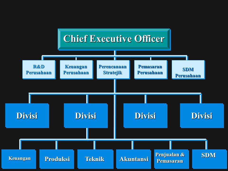 DivisiDivisiDivisiDivisi ProduksiKeuanganTeknikAkuntansi Penjualan & Pemasaran SDM Chief Executive Officer Keuangan Perusahaan R&D Perusahaan Pemasara