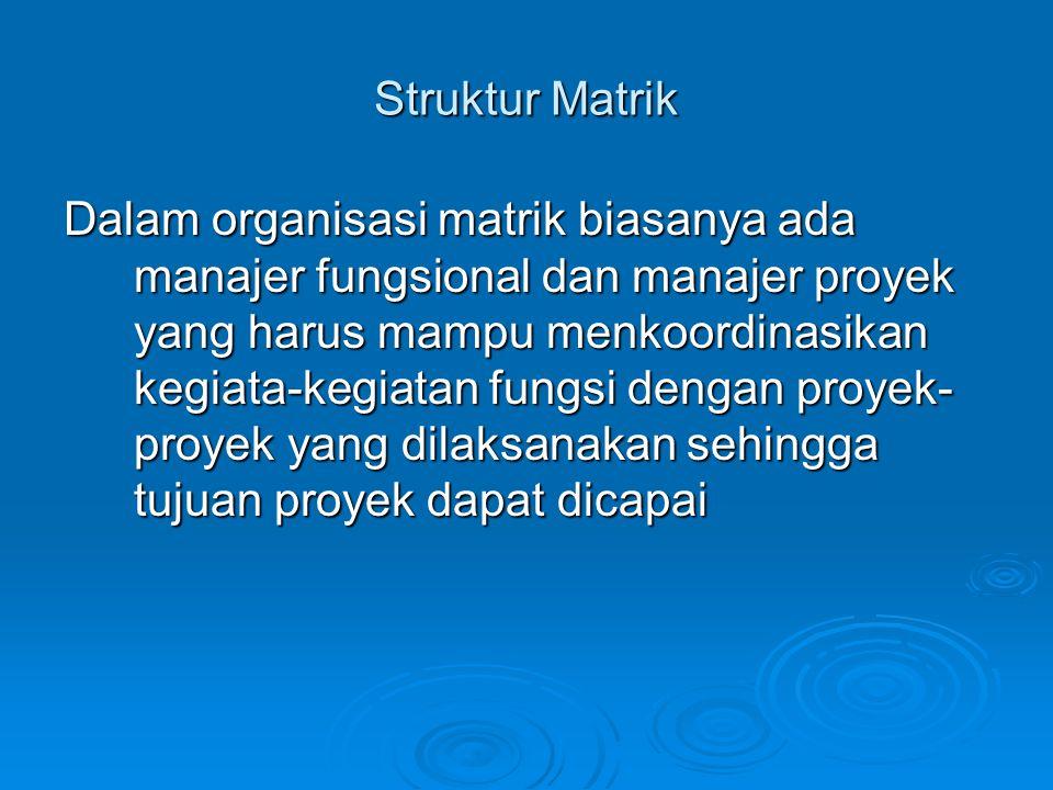 Struktur Matrik Dalam organisasi matrik biasanya ada manajer fungsional dan manajer proyek yang harus mampu menkoordinasikan kegiata-kegiatan fungsi d