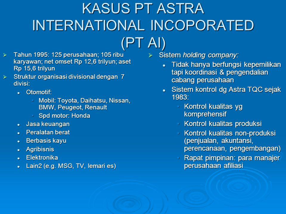 KASUS PT ASTRA INTERNATIONAL INCOPORATED (PT AI)  Tahun 1995: 125 perusahaan; 105 ribu karyawan; net omset Rp 12,6 trilyun; aset Rp 15,6 trilyun  St