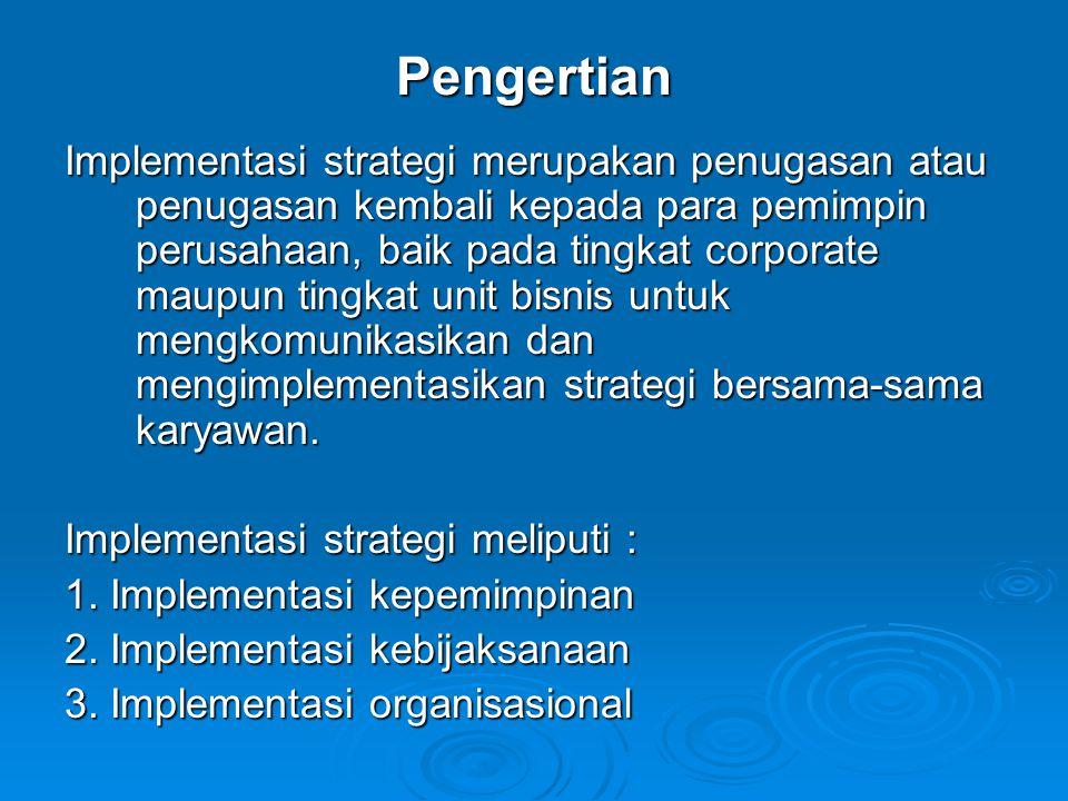 Implementasi strategi merupakan penugasan atau penugasan kembali kepada para pemimpin perusahaan, baik pada tingkat corporate maupun tingkat unit bisn