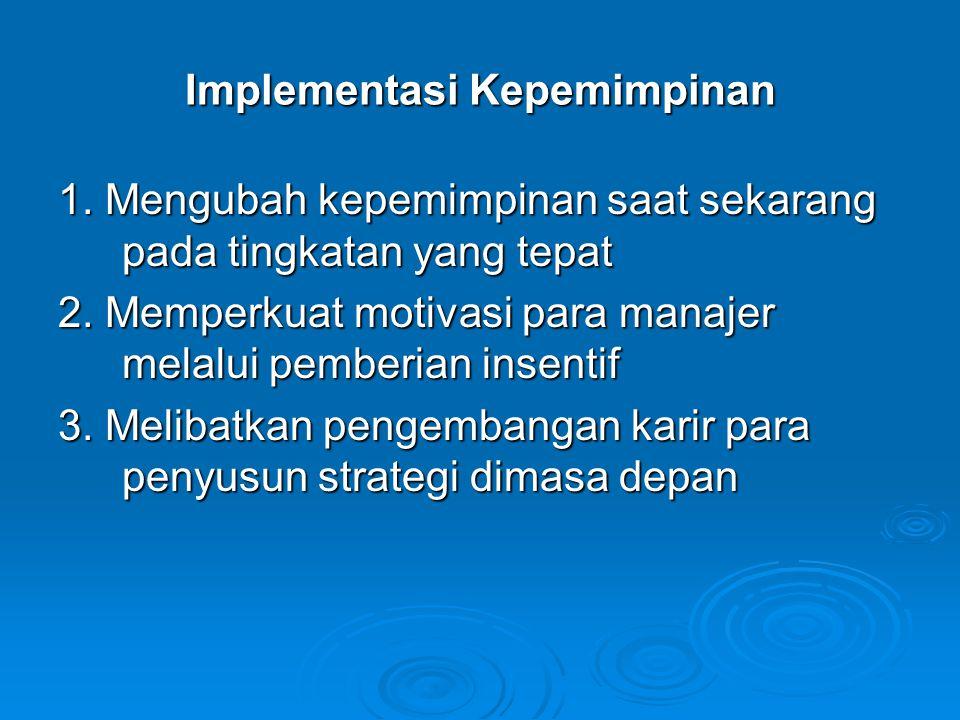 Implementasi Kepemimpinan 1. Mengubah kepemimpinan saat sekarang pada tingkatan yang tepat 2. Memperkuat motivasi para manajer melalui pemberian insen