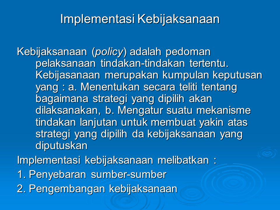 Implementasi Kebijaksanaan Kebijaksanaan (policy) adalah pedoman pelaksanaan tindakan-tindakan tertentu. Kebijasanaan merupakan kumpulan keputusan yan