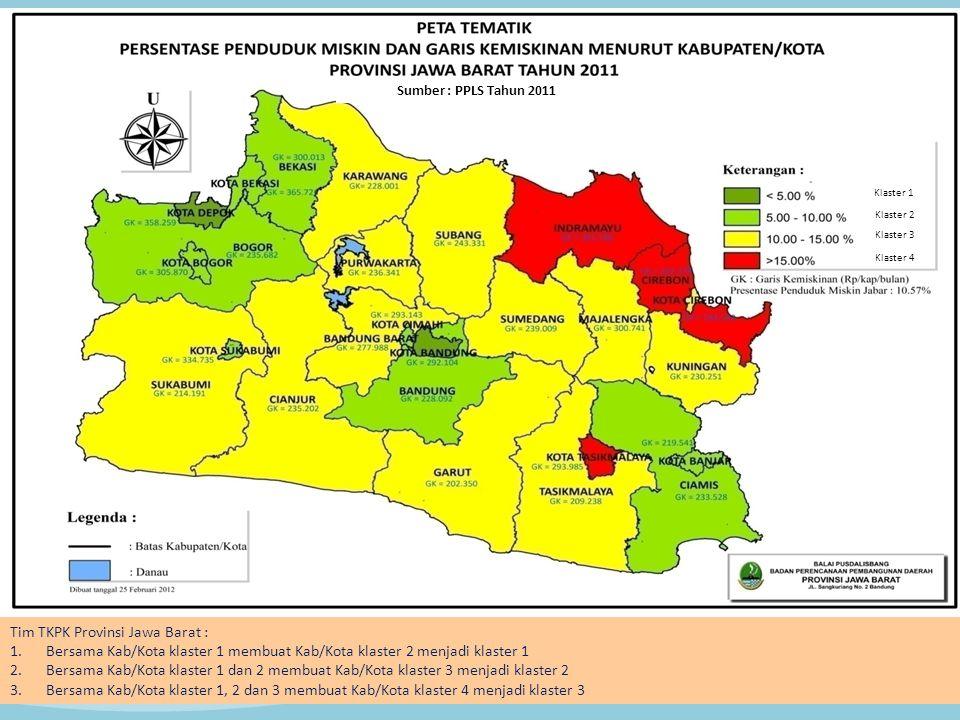 Sumber : PPLS Tahun 2011 Tim TKPK Provinsi Jawa Barat : 1.Bersama Kab/Kota klaster 1 membuat Kab/Kota klaster 2 menjadi klaster 1 2.Bersama Kab/Kota k