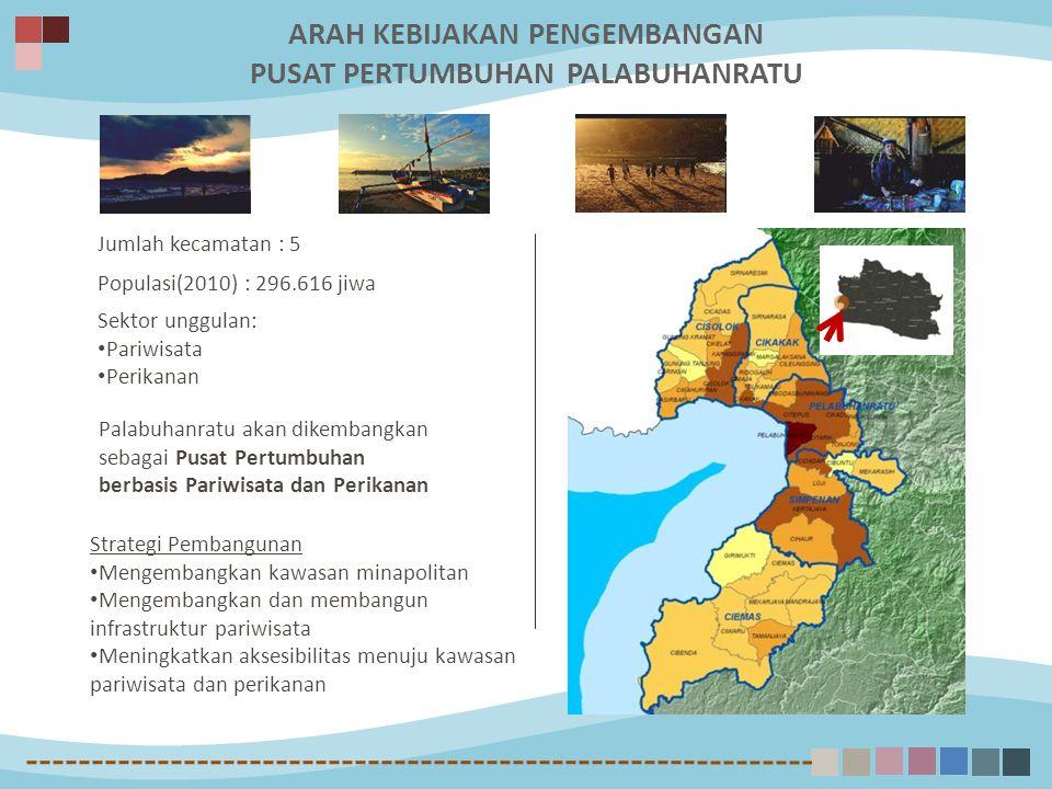 Jumlah kecamatan : 5 Populasi(2010) : 296.616 jiwa Sektor unggulan: Pariwisata Perikanan Palabuhanratu akan dikembangkan sebagai Pusat Pertumbuhan berbasis Pariwisata dan Perikanan Strategi Pembangunan Mengembangkan kawasan minapolitan Mengembangkan dan membangun infrastruktur pariwisata Meningkatkan aksesibilitas menuju kawasan pariwisata dan perikanan ARAH KEBIJAKAN PENGEMBANGAN PUSAT PERTUMBUHAN PALABUHANRATU