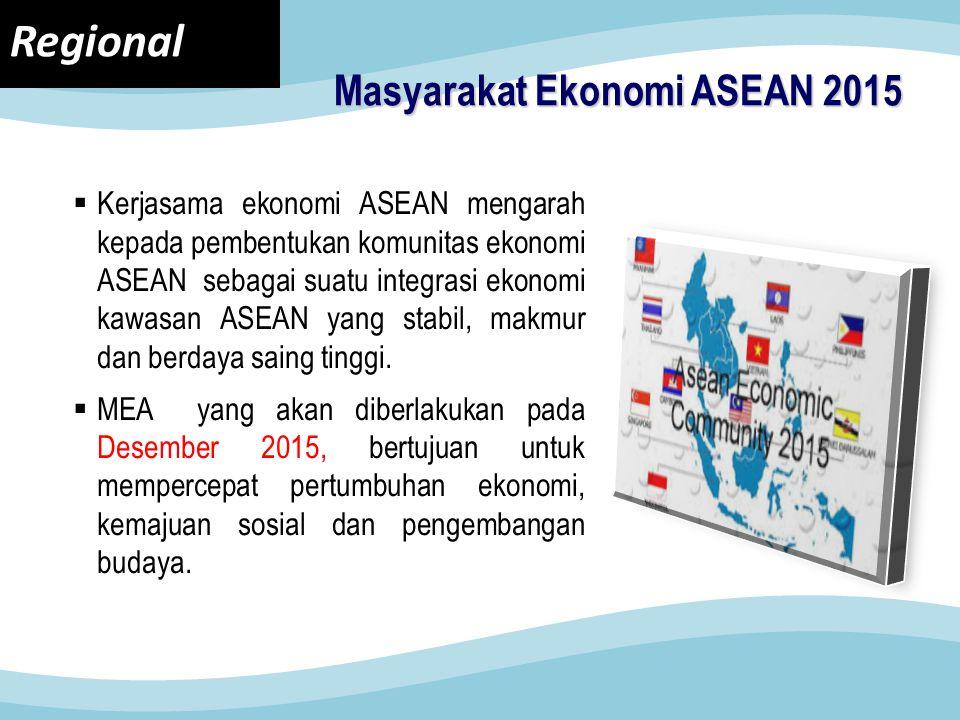 Masyarakat Ekonomi ASEAN 2015  Kerjasama ekonomi ASEAN mengarah kepada pembentukan komunitas ekonomi ASEAN sebagai suatu integrasi ekonomi kawasan ASEAN yang stabil, makmur dan berdaya saing tinggi.