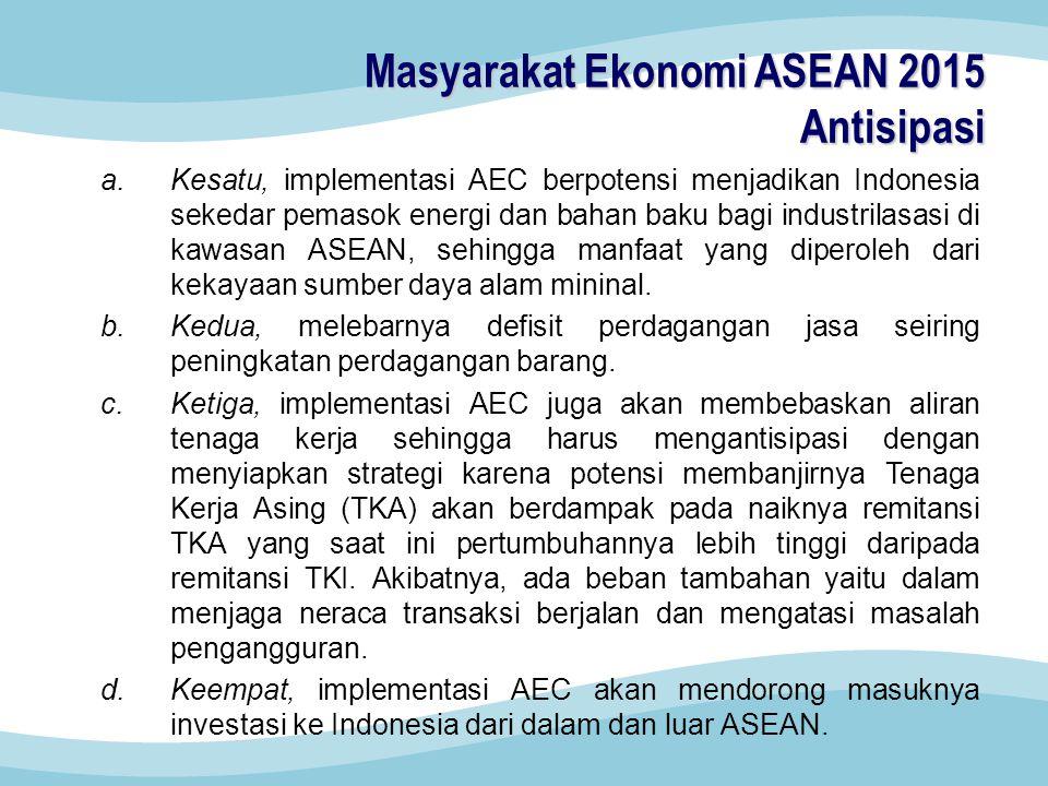 a.Kesatu, implementasi AEC berpotensi menjadikan Indonesia sekedar pemasok energi dan bahan baku bagi industrilasasi di kawasan ASEAN, sehingga manfaat yang diperoleh dari kekayaan sumber daya alam mininal.