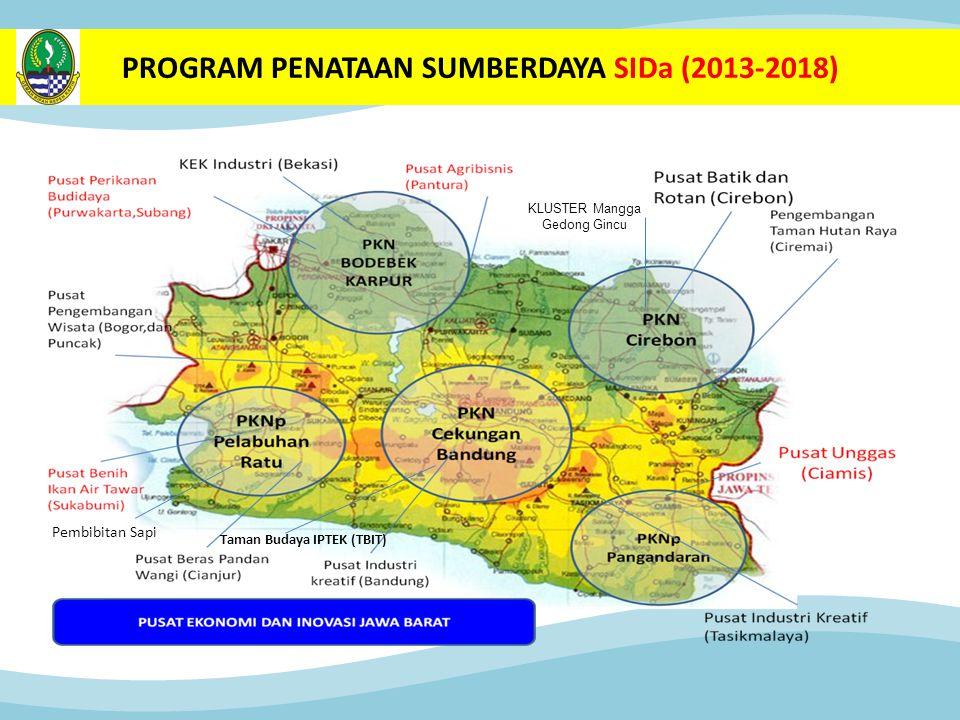 PROGRAM PENATAAN SUMBERDAYA SIDa (2013-2018) Taman Budaya IPTEK (TBIT) KLUSTER Mangga Gedong Gincu Pembibitan Sapi