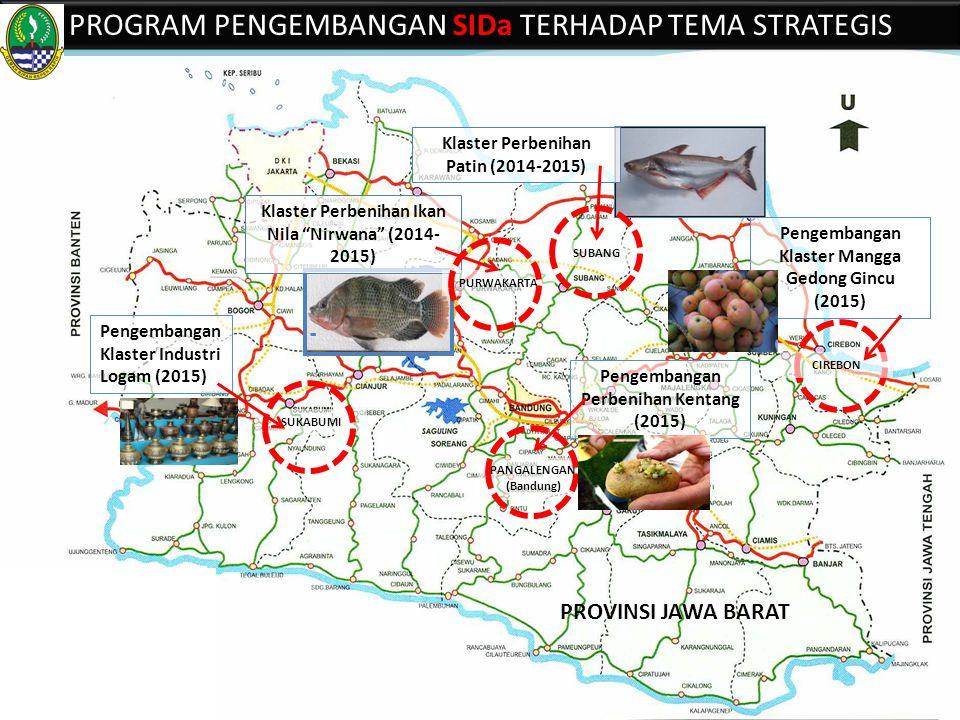 Klaster Perbenihan Patin (2014-2015) Klaster Perbenihan Ikan Nila Nirwana (2014- 2015) PROGRAM PENGEMBANGAN SIDa TERHADAP TEMA STRATEGIS PROVINSI JAWA BARAT Pengembangan Perbenihan Kentang (2015) PANGALENGAN (Bandung) SUKABUMI Pengembangan Klaster Industri Logam (2015) PURWAKARTA SUBANG Pengembangan Klaster Mangga Gedong Gincu (2015) CIREBON