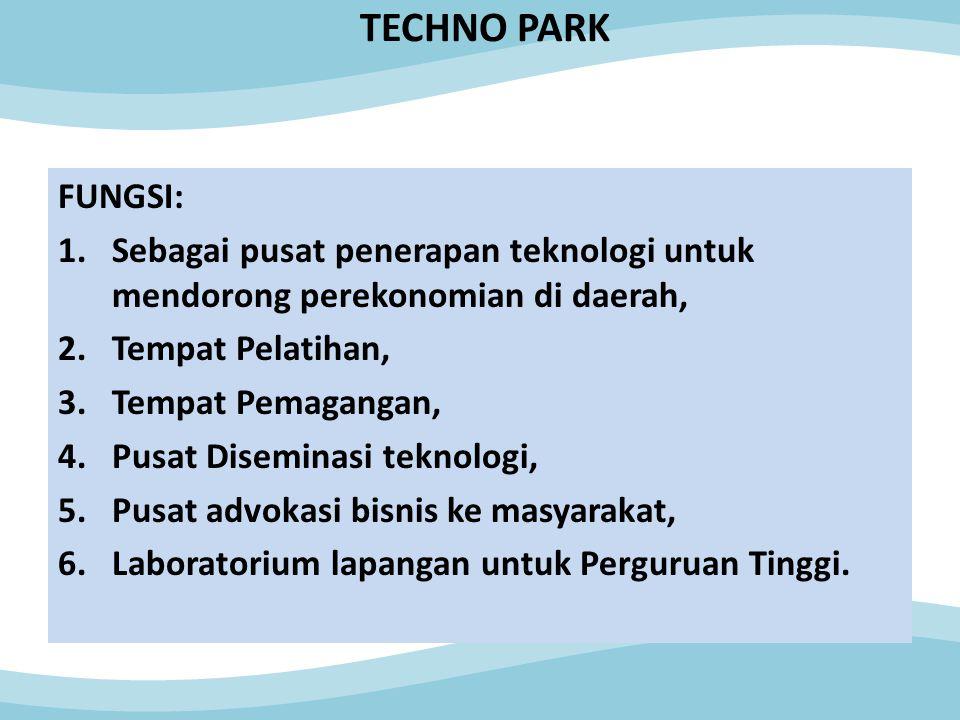TECHNO PARK FUNGSI: 1.Sebagai pusat penerapan teknologi untuk mendorong perekonomian di daerah, 2.Tempat Pelatihan, 3.Tempat Pemagangan, 4.Pusat Diseminasi teknologi, 5.Pusat advokasi bisnis ke masyarakat, 6.Laboratorium lapangan untuk Perguruan Tinggi.