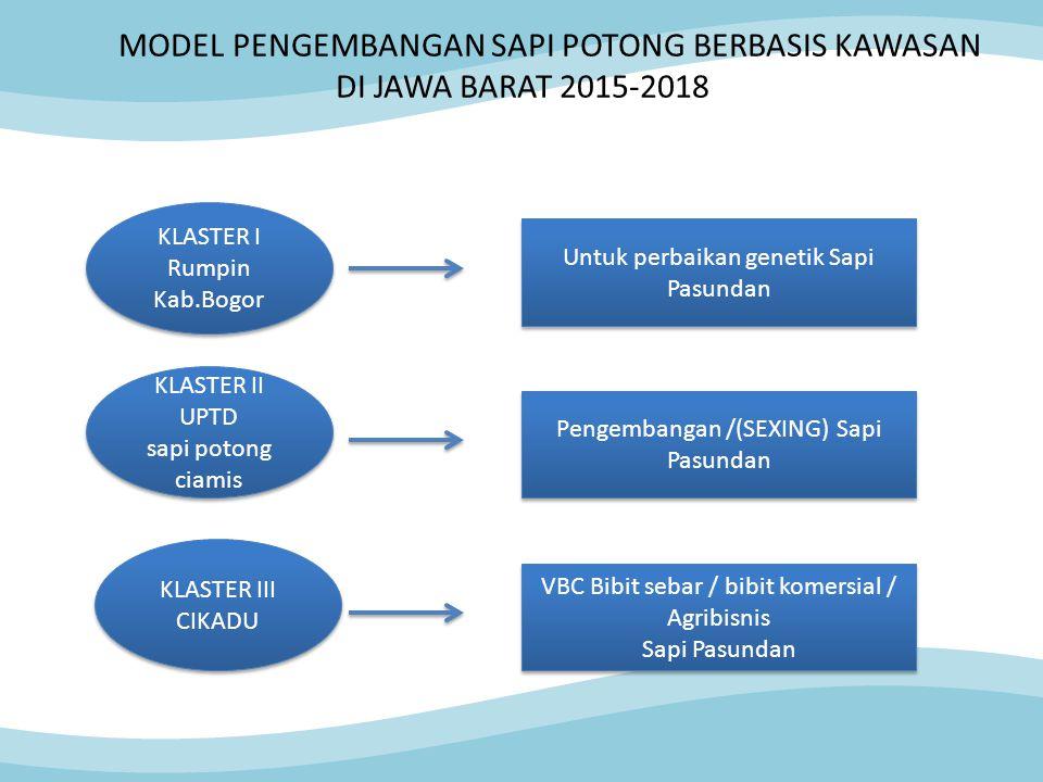 MODEL PENGEMBANGAN SAPI POTONG BERBASIS KAWASAN DI JAWA BARAT 2015-2018 KLASTER I Rumpin Kab.Bogor KLASTER I Rumpin Kab.Bogor KLASTER II UPTD sapi pot