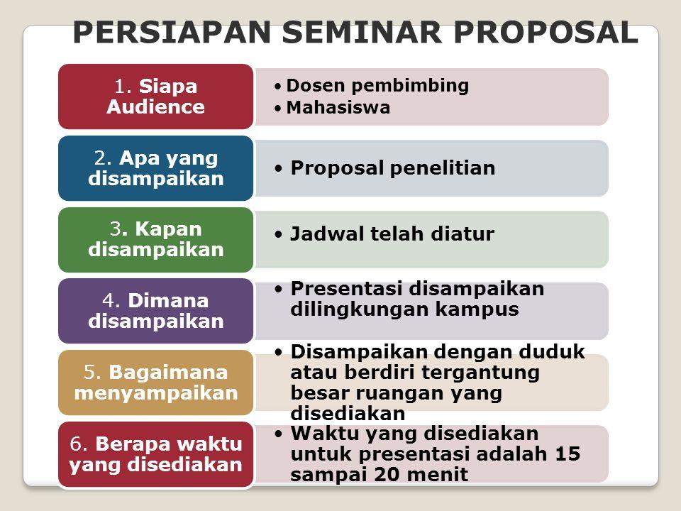 PERSIAPAN SEMINAR PROPOSAL Dosen pembimbing Mahasiswa 1.