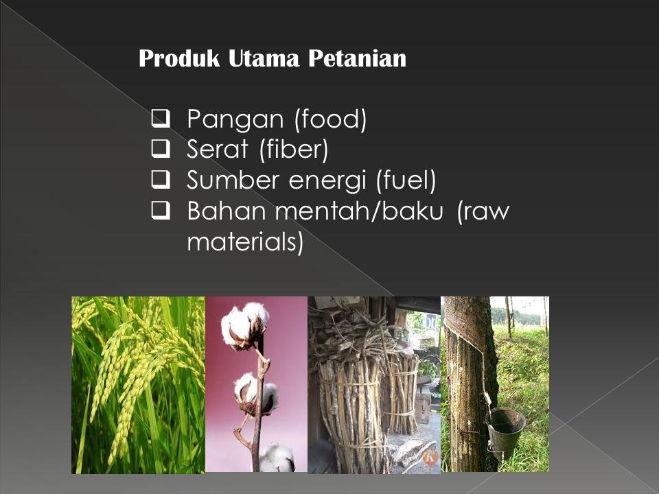 Produk Utama Petanian  Pangan (food)  Serat (fiber)  Sumber energi (fuel)  Bahan mentah/baku (raw materials)