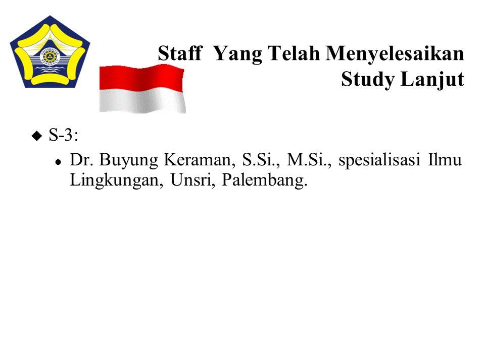 Staff Yang Telah Menyelesaikan Study Lanjut u S-3: l Dr. Buyung Keraman, S.Si., M.Si., spesialisasi Ilmu Lingkungan, Unsri, Palembang.