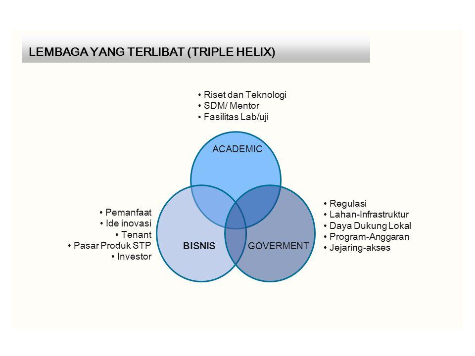 LEMBAGA YANG TERLIBAT (TRIPLE HELIX) Riset dan Teknologi SDM/ Mentor Fasilitas Lab/uji Pemanfaat Ide inovasi Tenant Pasar Produk STP Investor Regulasi