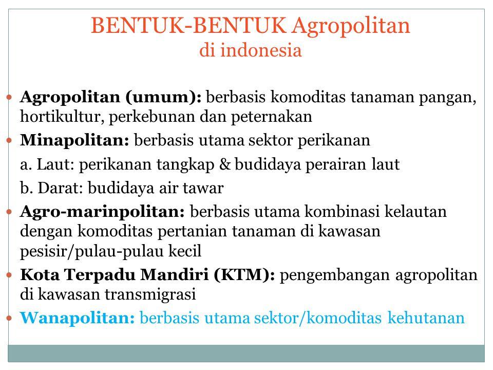 BENTUK-BENTUK Agropolitan di indonesia Agropolitan (umum): berbasis komoditas tanaman pangan, hortikultur, perkebunan dan peternakan Minapolitan: berb