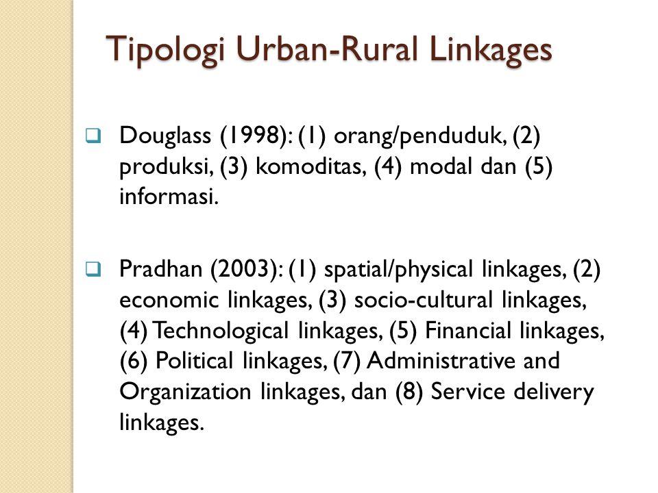  Douglass (1998): (1) orang/penduduk, (2) produksi, (3) komoditas, (4) modal dan (5) informasi.  Pradhan (2003): (1) spatial/physical linkages, (2)