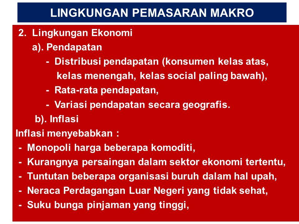 LINGKUNGAN PEMASARAN MAKRO 2. Lingkungan Ekonomi a). Pendapatan - Distribusi pendapatan (konsumen kelas atas, kelas menengah, kelas social paling bawa