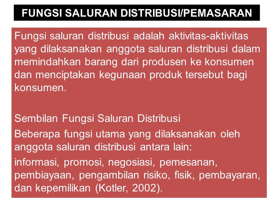 FUNGSI SALURAN DISTRIBUSI/PEMASARAN Fungsi saluran distribusi adalah aktivitas-aktivitas yang dilaksanakan anggota saluran distribusi dalam memindahkan barang dari produsen ke konsumen dan menciptakan kegunaan produk tersebut bagi konsumen.