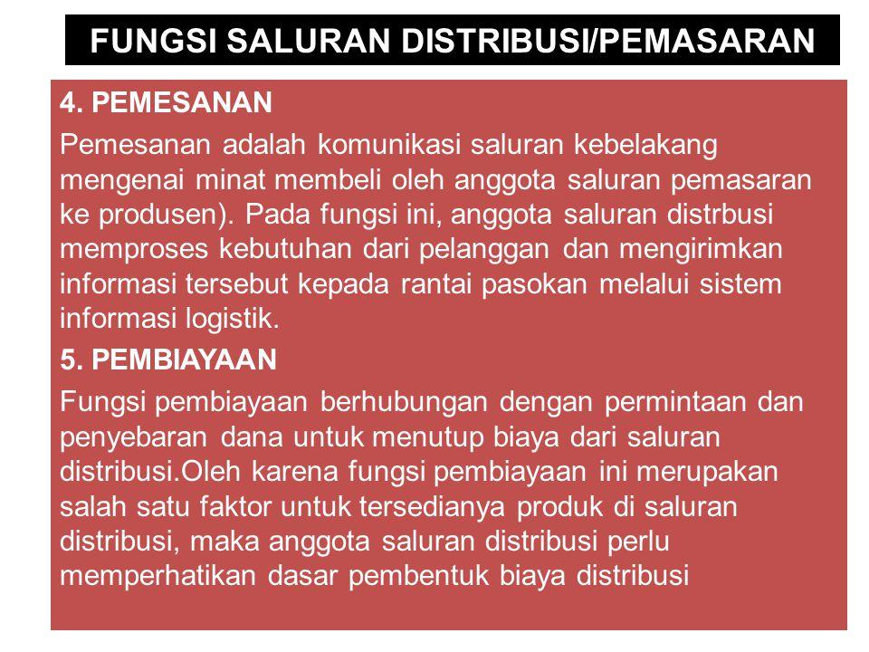 FUNGSI SALURAN DISTRIBUSI/PEMASARAN 4.