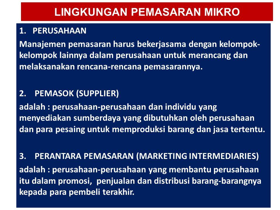 LINGKUNGAN PEMASARAN MIKRO 1. PERUSAHAAN Manajemen pemasaran harus bekerjasama dengan kelompok- kelompok lainnya dalam perusahaan untuk merancang dan