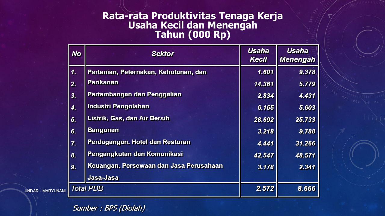 Rata-rata Produktivitas Tenaga Kerja Usaha Kecil dan Menengah Tahun (000 Rp) 8.666 2.572 Total PDB 9.378 5.779 4.431 5.603 25.733 9.788 31.266 48.571