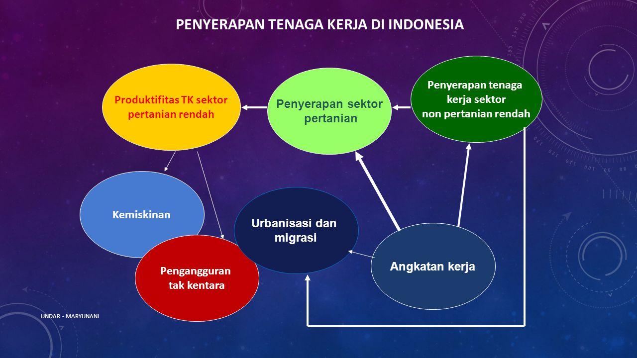 UNDAR - MARYUNANI PENYERAPAN TENAGA KERJA DI INDONESIA Produktifitas TK sektor pertanian rendah Penyerapan sektor pertanian Angkatan kerja Kemiskinan