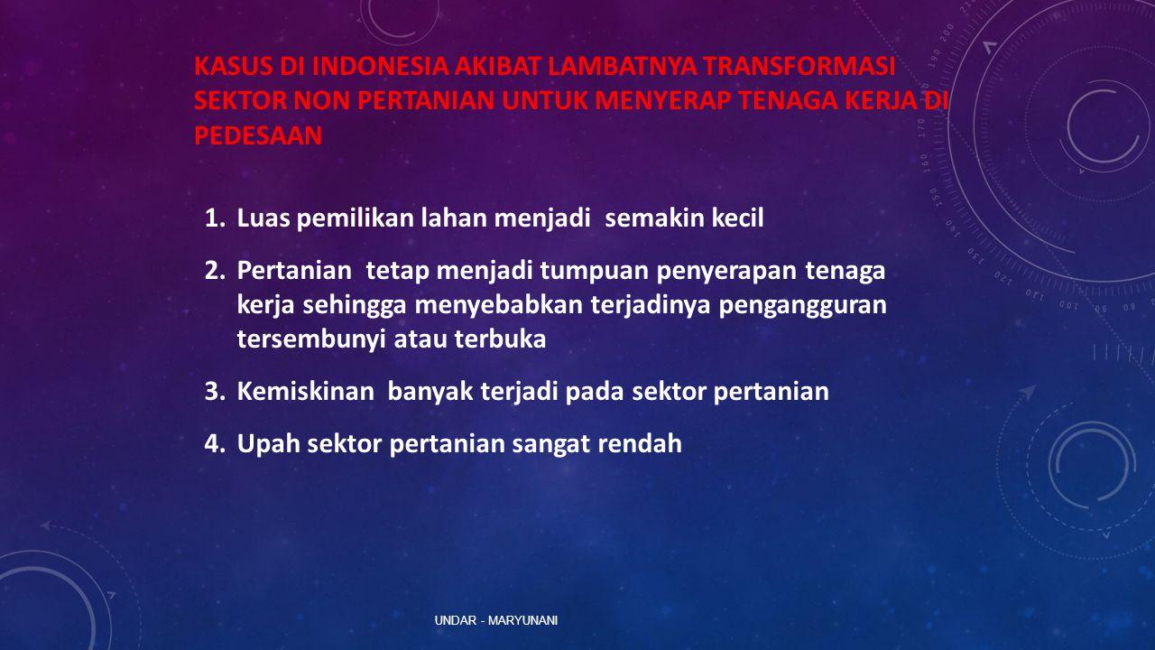UNDAR - MARYUNANI KASUS DI INDONESIA AKIBAT LAMBATNYA TRANSFORMASI SEKTOR NON PERTANIAN UNTUK MENYERAP TENAGA KERJA DI PEDESAAN 1.Luas pemilikan lahan