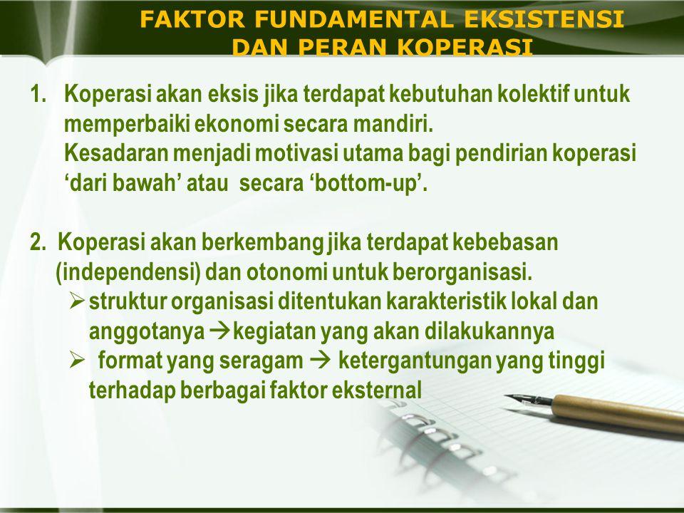 FAKTOR FUNDAMENTAL EKSISTENSI DAN PERAN KOPERASI 1.Koperasi akan eksis jika terdapat kebutuhan kolektif untuk memperbaiki ekonomi secara mandiri. Kesa