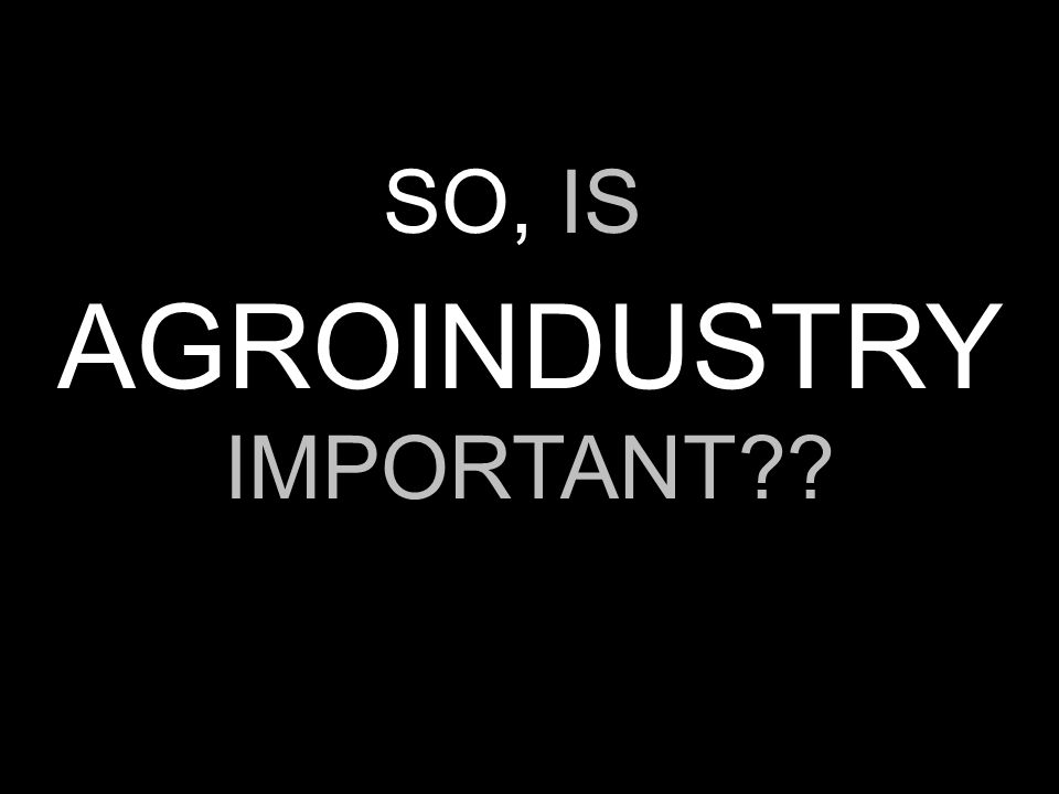 AGROINDUSTRY IMPORTANT?? SO, IS