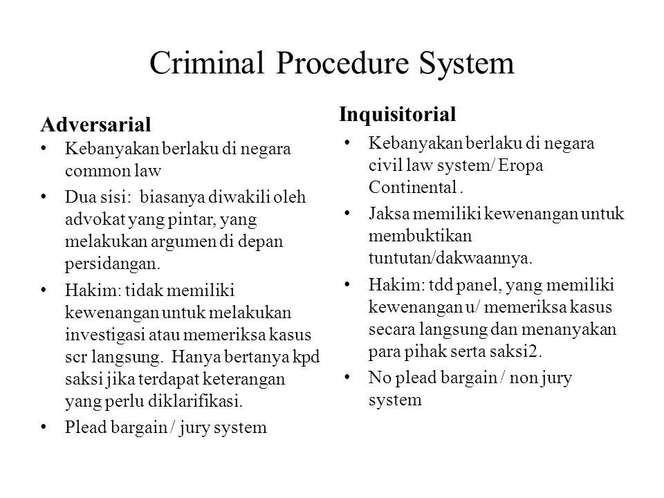 Criminal Procedure System Adversarial Kebanyakan berlaku di negara common law Dua sisi: biasanya diwakili oleh advokat yang pintar, yang melakukan arg