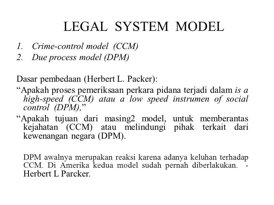 LEGAL SYSTEM MODEL 1.Crime-control model (CCM) 2.Due process model (DPM) Dasar pembedaan (Herbert L.