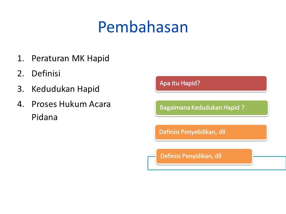 Pembahasan 1.Peraturan MK Hapid 2.Definisi 3.Kedudukan Hapid 4.Proses Hukum Acara Pidana Apa itu Hapid? Bagaimana Kedudukan Hapid ? Definisi Penyelidi